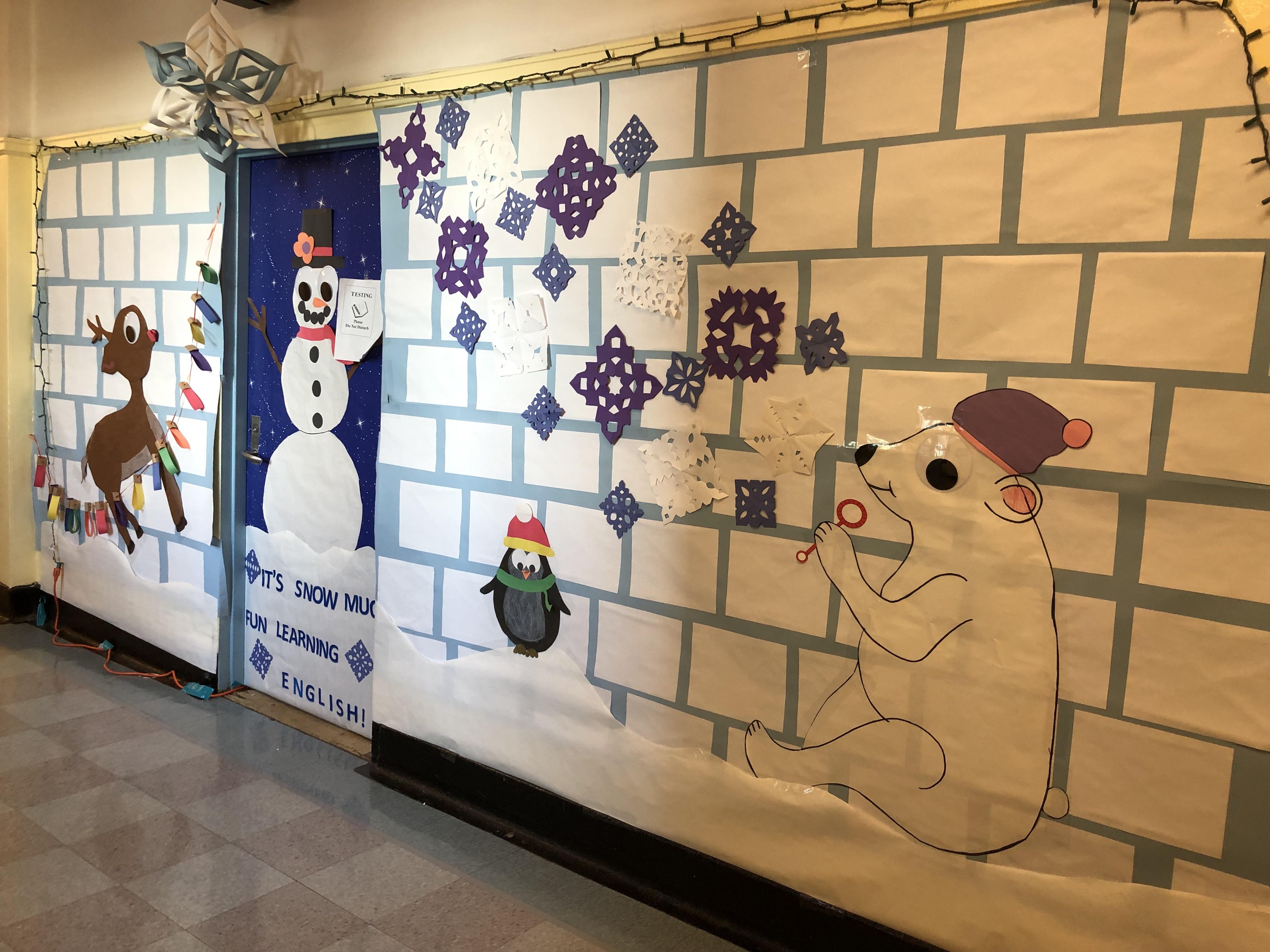 decorated door in hallway