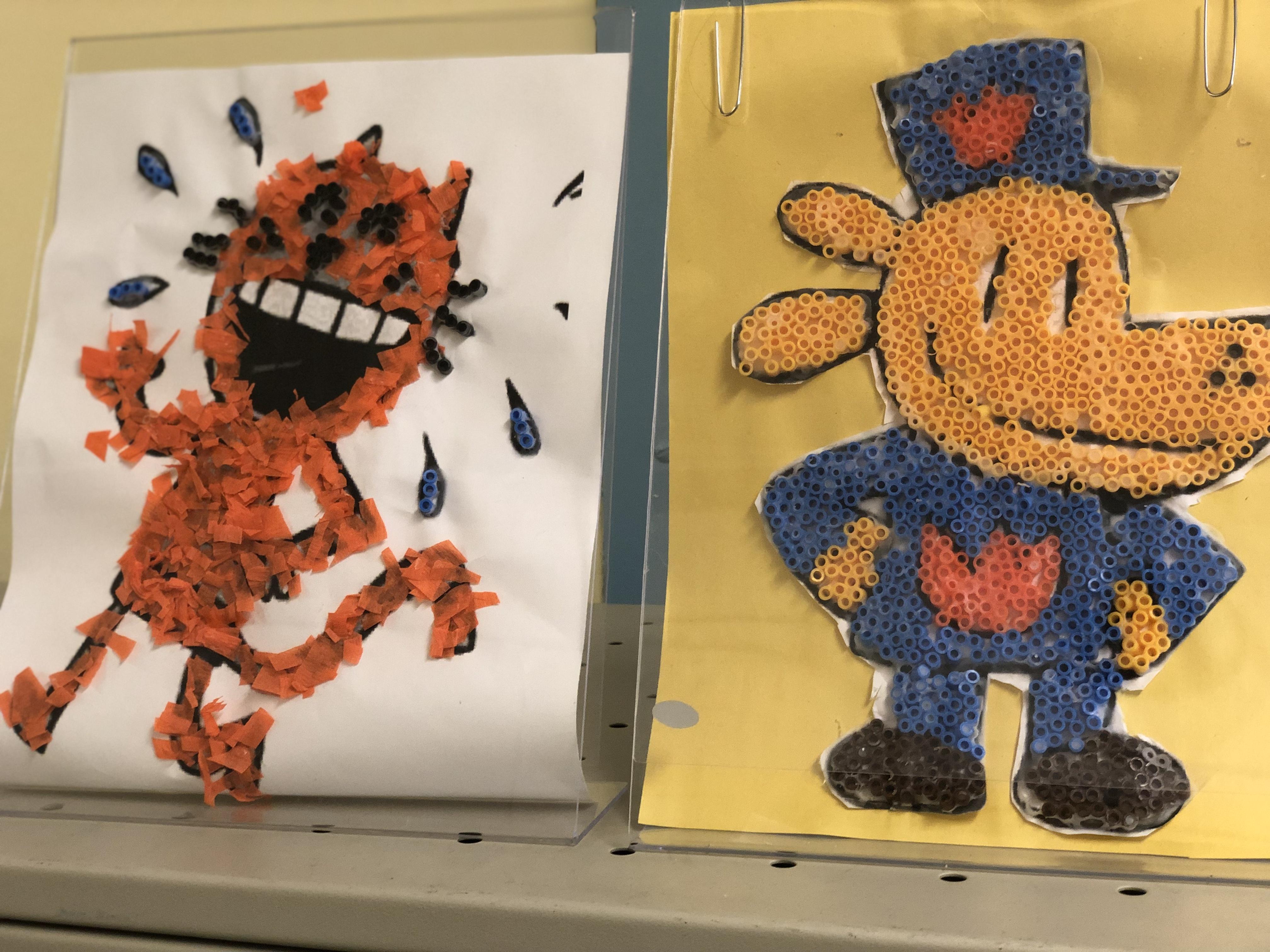 macaroni artwork by students