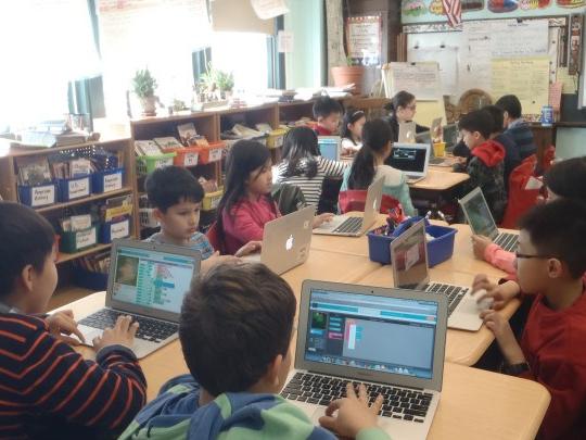 students coding