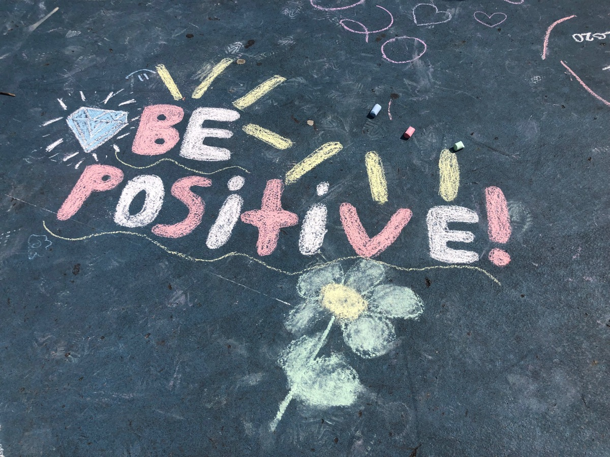 be positive chalk drawing
