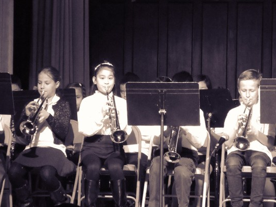 students in band